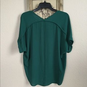 Lush Roll Sleeve Blouse in Evergreen